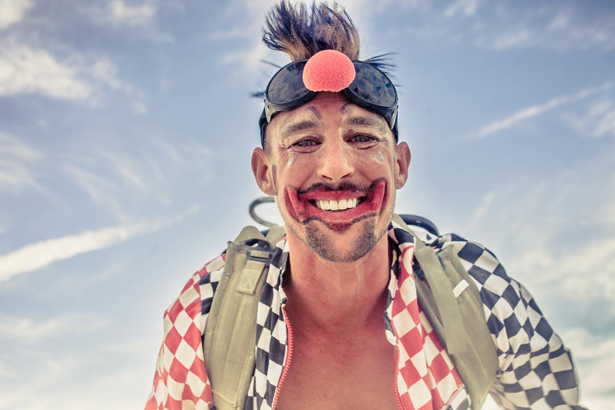 Burning Man - Fire clown portrait