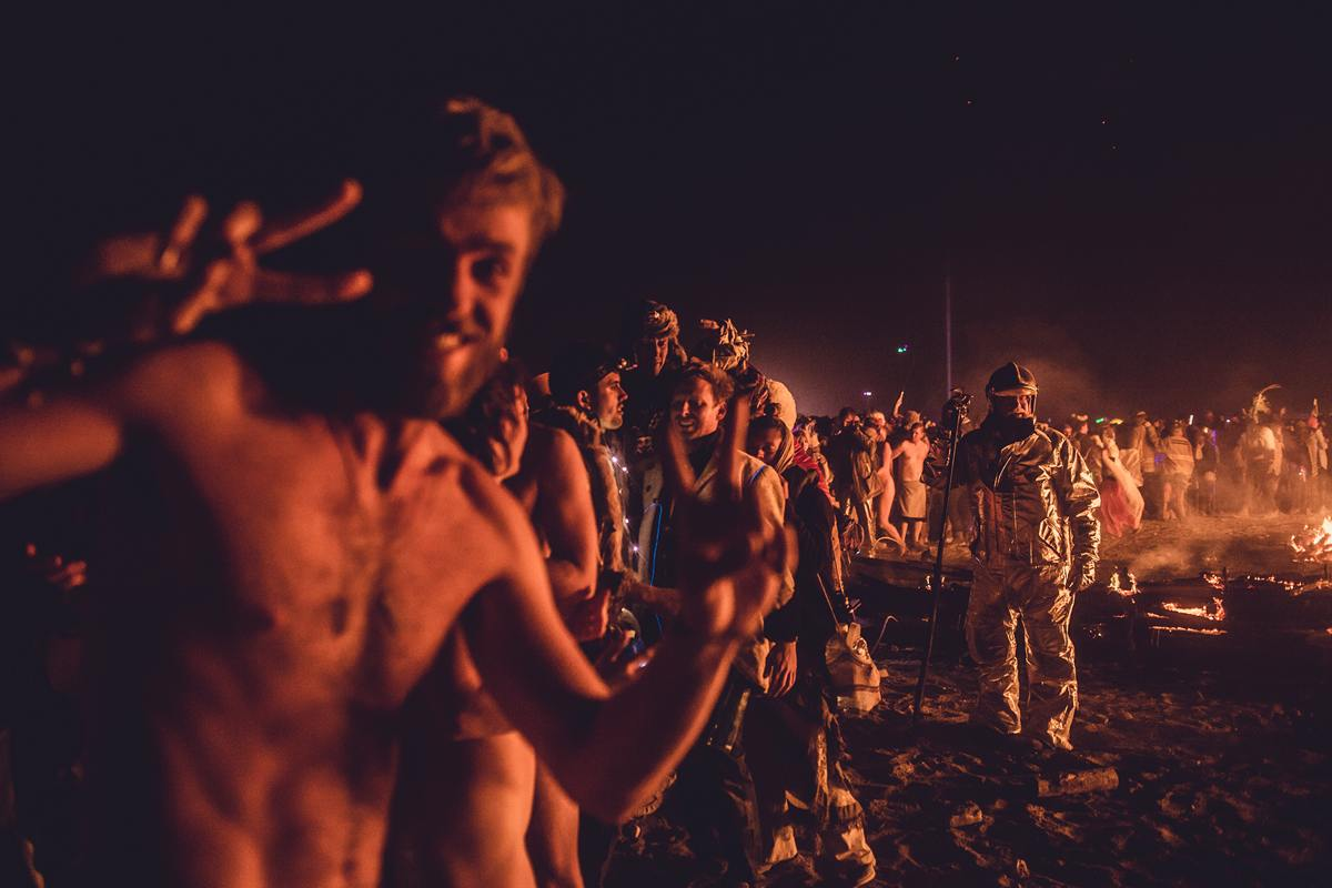 Burning Man - Dancing around the fire