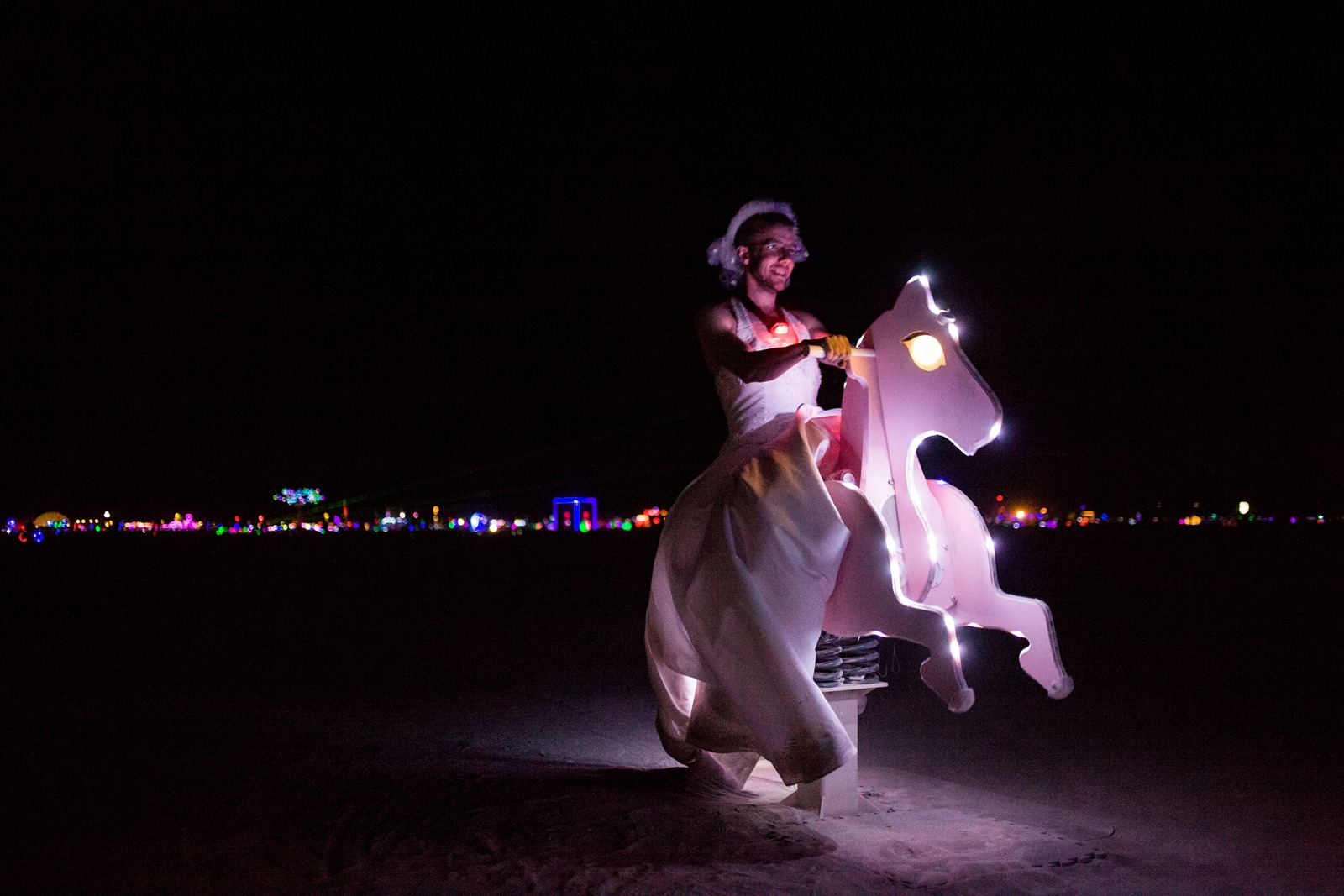 Burning Man - Marilyn riding a horse in the middle of the playa