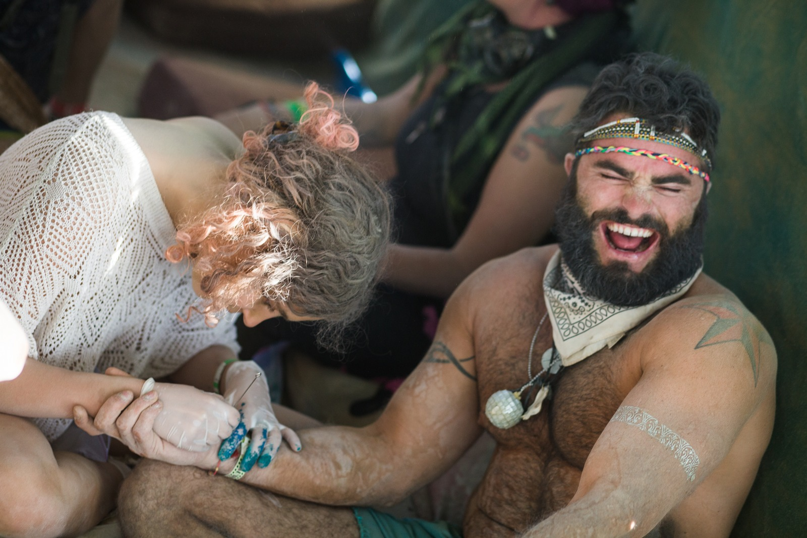 Burning Man - Getting a real tatoo in the absint bar