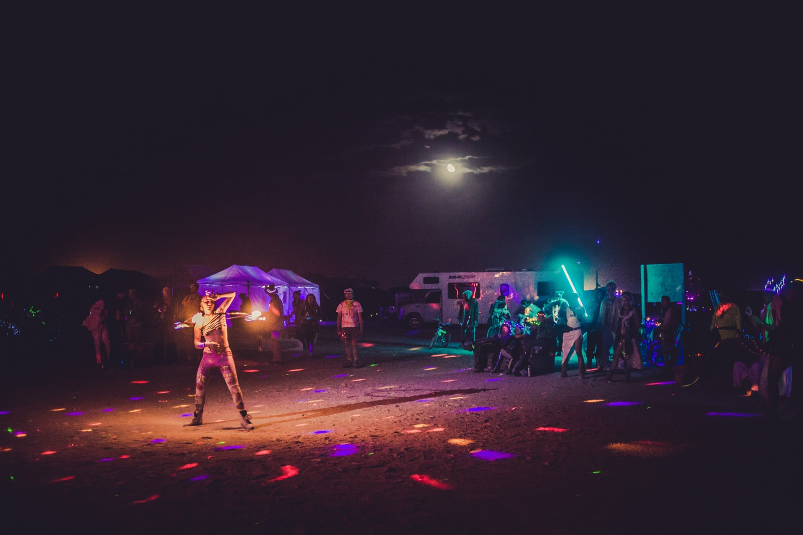 Burning Man - Moon and fire