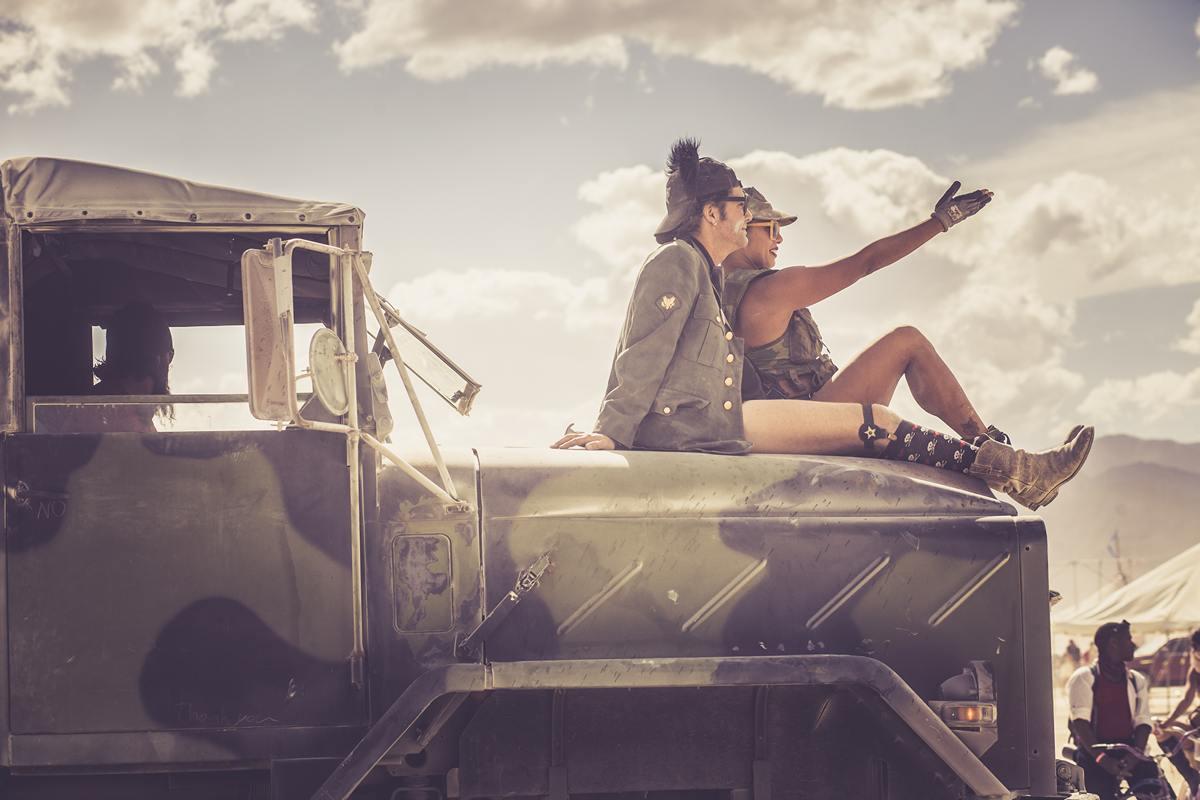 Burning Man - Military truck