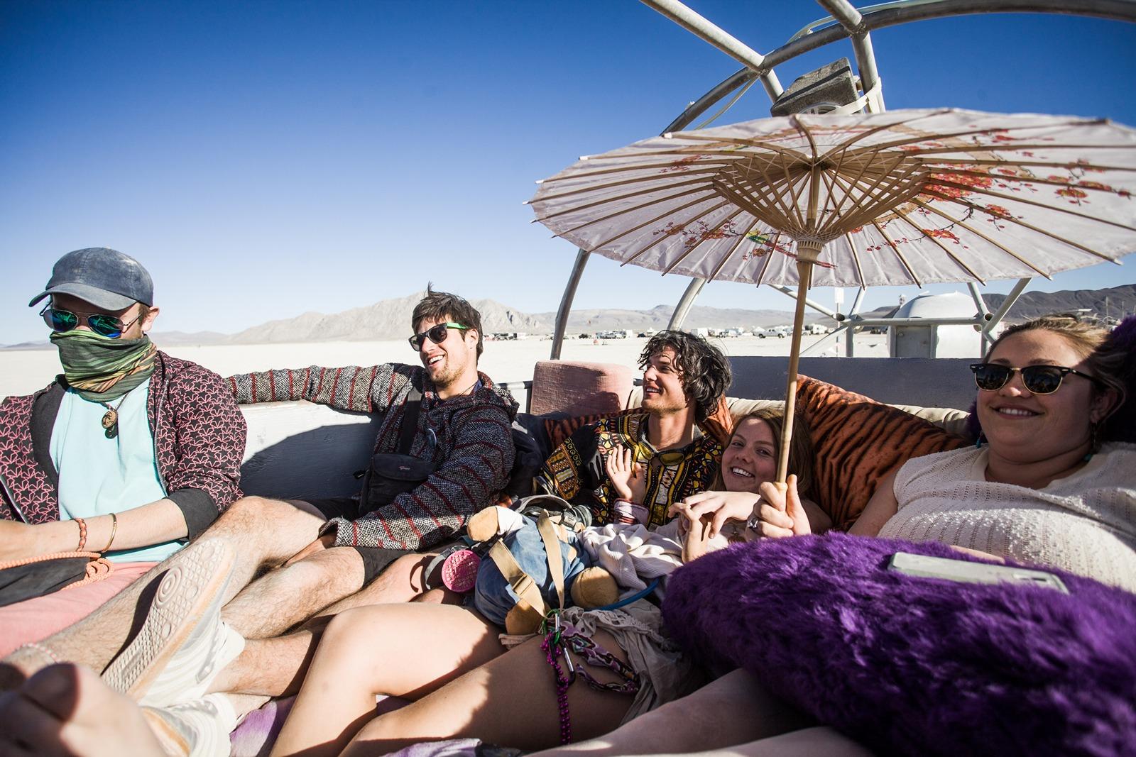 Burning Man - Relaxing in an art car